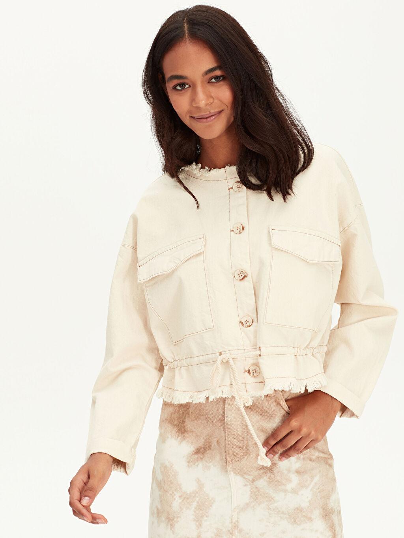 %100 Pamuk Kısa Ceket Saçaklı Jean Ceket