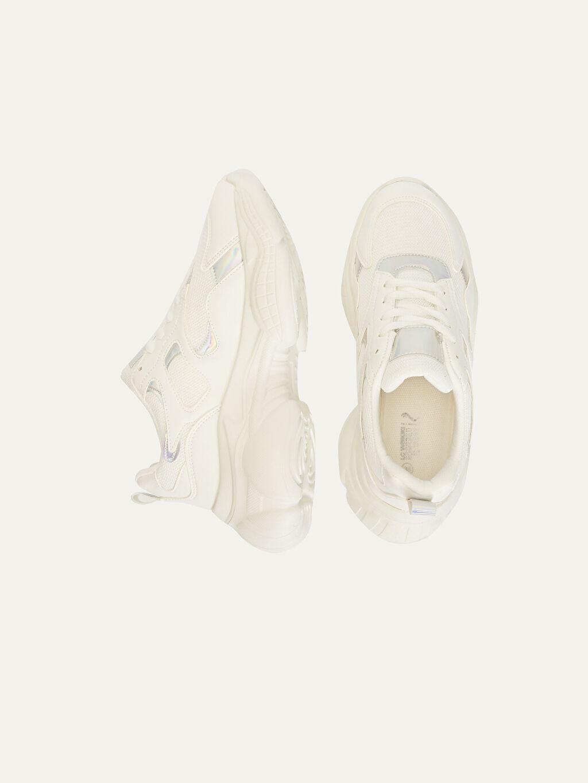 Tekstil malzemeleri Diğer malzeme (poliüretan) Tekstil malzemeleri Bağcık Yuvarlak Burun Diğer Standart 5 cm Sneaker Kadın Kalın Taban Hologramlı Spor Ayakkabı