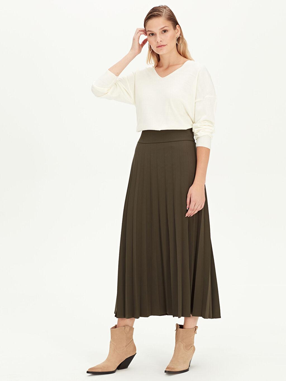 %88 Polyester %12 Elastan Plili Düz Bol Astarsız Uzun Etek Uzun Pileli Etek