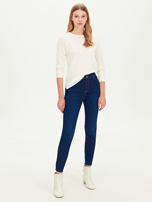 %81 Pamuk %17 Polyester %2 Elastan Dar Jean Yüksek Bel Super Skinny Jean Pantolon