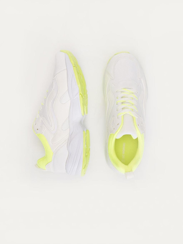 Tekstil malzemeleri Diğer malzeme (poliüretan) Tekstil malzemeleri 4 cm Yuvarlak Burun Düz Standart Sneaker Kadın Kalın Taban Günlük Spor Ayakkabı