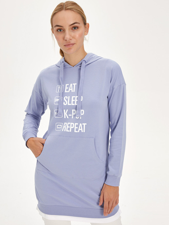 %96 Pamuk %4 Elastan Sweatshirt Mini Standart İnce Baskılı Tunik Süprem Slogan Baskılı Kapüşonlu Pamuklu Spor Tunik