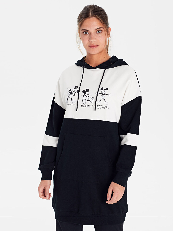 %100 Pamuk Sweatshirt Baskılı Oversize İki İplik Orta Kalınlık Tunik %100 Pamuk Diz Üstü Mickey Mouse Kapüşonlu Pamuklu Sweatshirt
