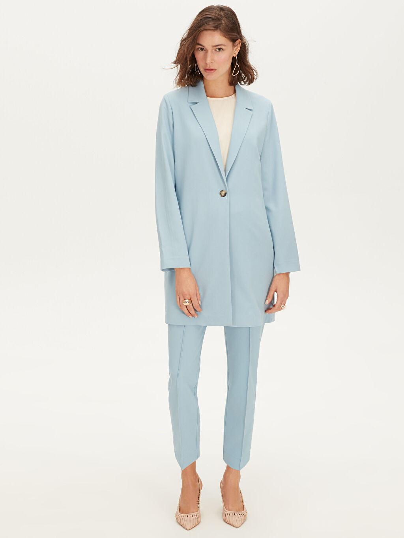 %87 Polyester %13 Elastan Uzun Blazer Ceket