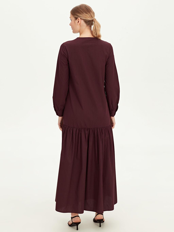 %100 Pamuk Fermuar Detaylı Uzun Elbise