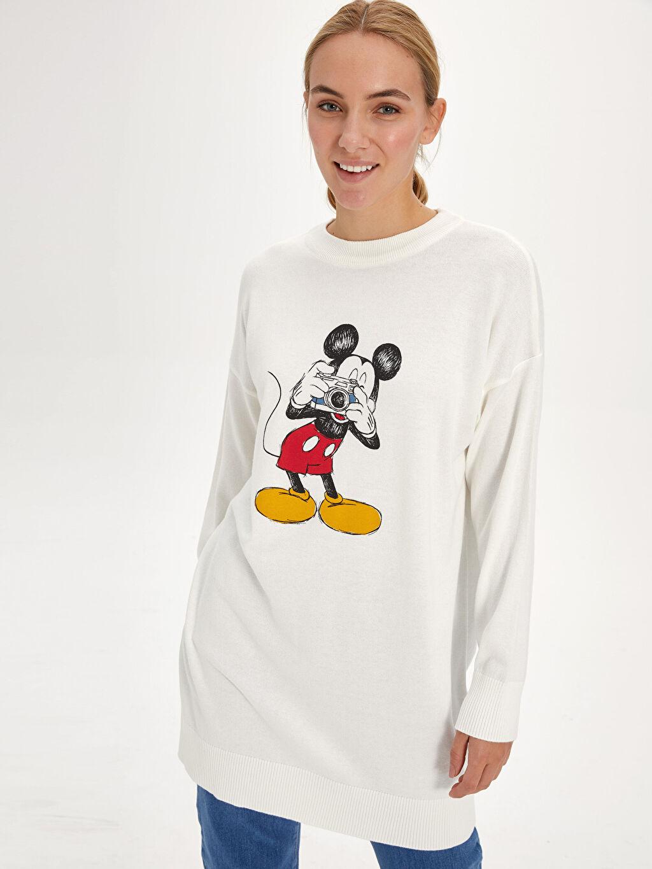%50 Akrilik %50 Pamuk Tunik Diğer Standart Mickey Mouse Baskılı Triko Tunik
