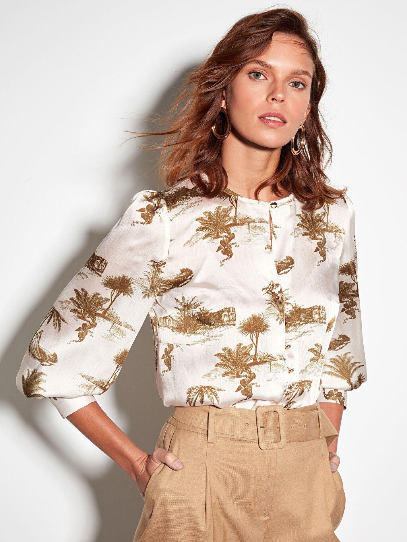 %100 Polyester Standart Bluzan Standart Baskılı Bisiklet Yaka Bluz Uzun Kol Tam Pat Saten Desenli Düğmeli Bluz