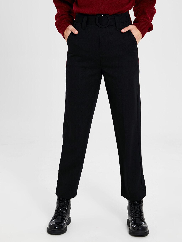 %41 Poliester %53 Viskoz %6 Elastan Düz Bilek Boy Standart Normal Bel Pantolon Kuşaklı Düz Paça Pantolon