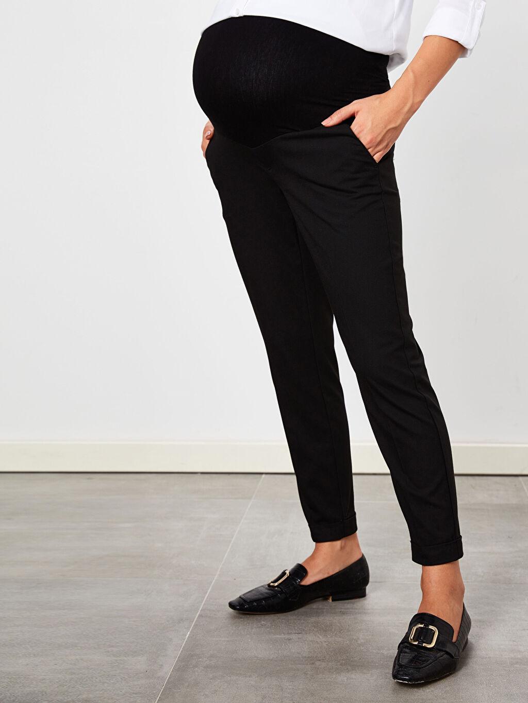 %65 Polyester %2 Elastan %33 Viskon Düz Ofis/Klasik Orta Kalınlık Pantolon Sigaret Hamile Havuç Pantolon