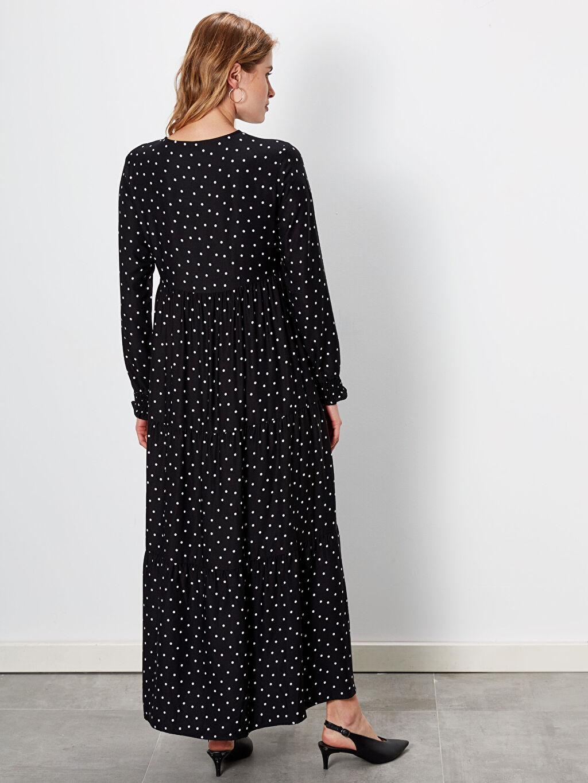 LC Waikiki Siyah Puantiyeli Uzun Kol Hamile Elbise
