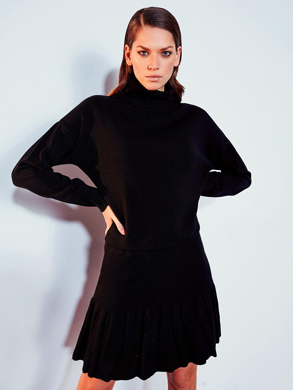 %100 Akrilik Fır Fır Detaylı Elbise