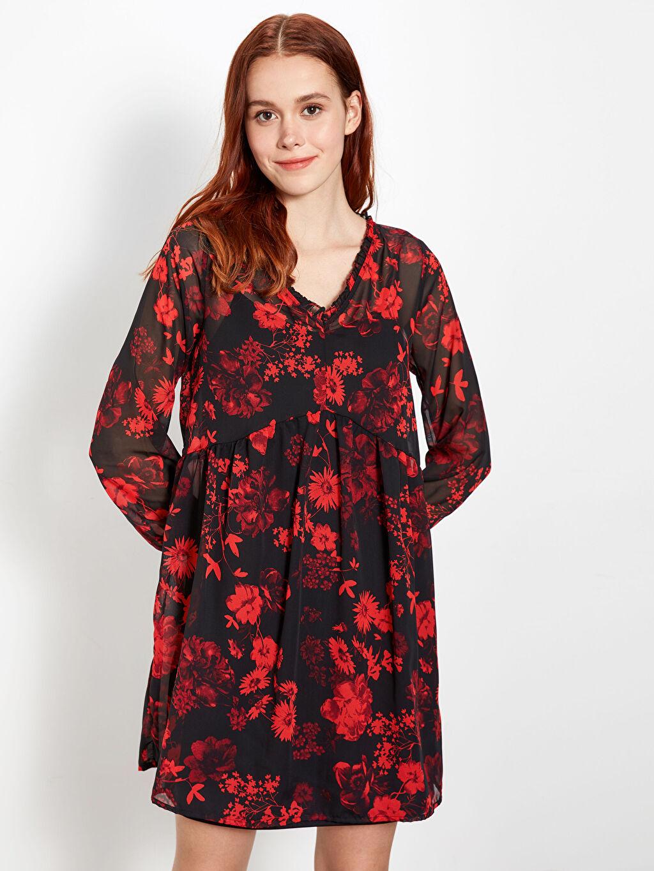 Kırmızı Çiçek Desenli Şifon Elbise 9WS004Z8 LC Waikiki