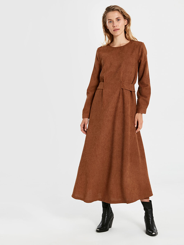 %100 Polyester Ofis/Klasik Uzun Uzun Kol Kadife Uzun Kloş Elbise