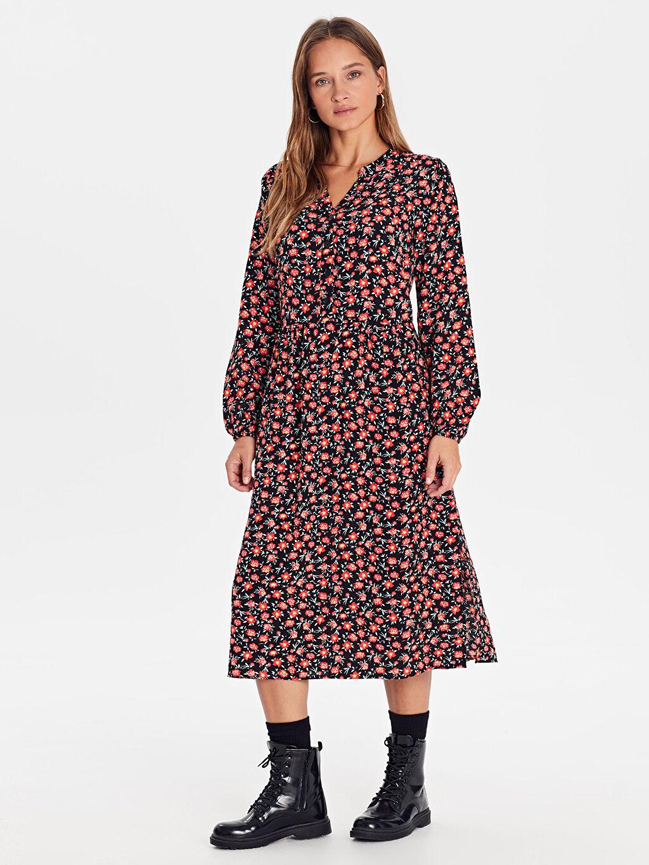 %100 Viskoz Elbise Gömlek Yaka Astarsız Kısa Elbise Çiçekli Günlük Uzun Kol Midi Çiçek Desenli Viskon Elbise