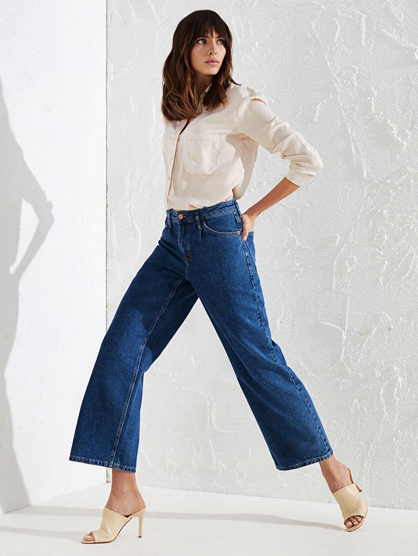 %100 Pamuk Uzun Jean Yüksek Bel Bol Yüksek Bel Jean Pantolon