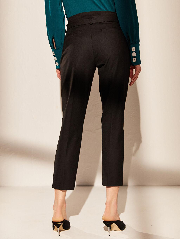 %64 Polyester %2 Elastan %34 Viskon Yüksek Bel Esnek Havuç Kemerli Pantolon