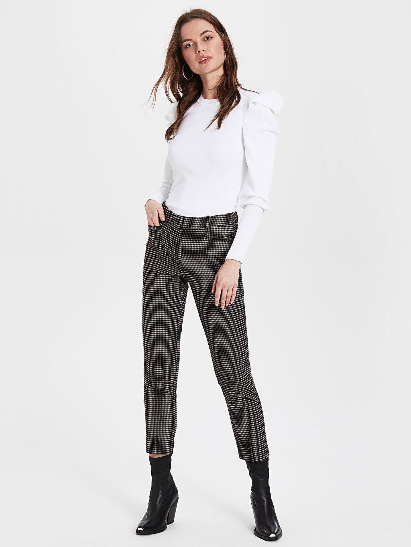 %64 Polyester %2 Elastan %34 Viskon Ekose Normal Bel Pantolon Sigaret Bilek Boy Ekose Cigarette Kumaş Pantolon