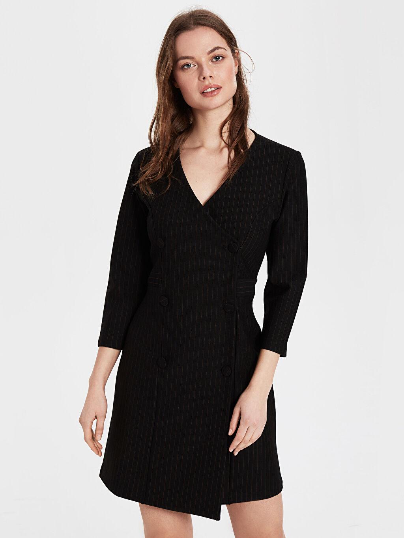 %27 Polyester %69 Viskoz %4 Elastan Kruvaze İnterlok Uzun Kol Düz Ceket Elbise Elbise Kısa Ofis/Klasik Standart Kruvaze Yaka Ceket Elbise