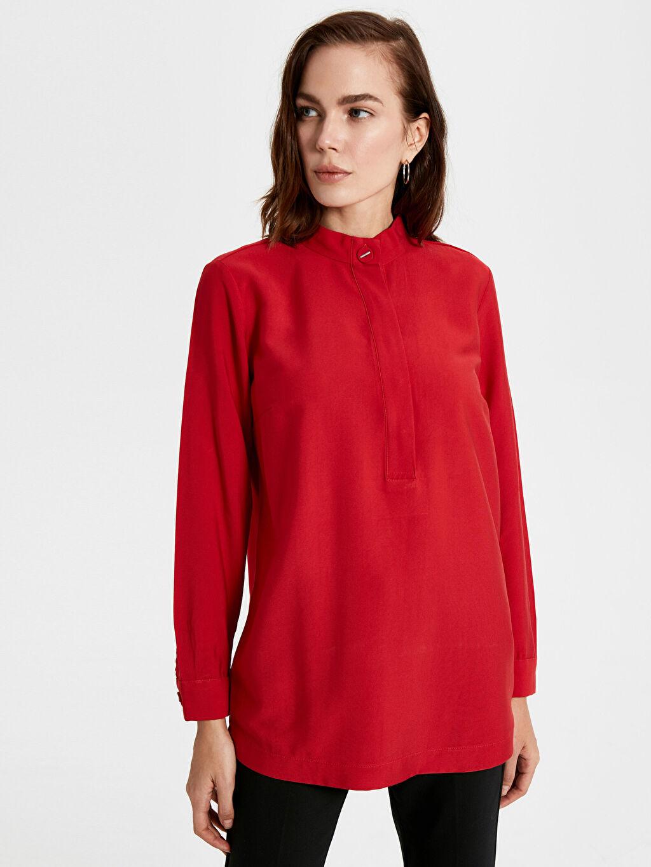 %23 Polyester %77 Viskoz Hakim Yaka Patsız Bluz Uzun Kol Düz Krep Standart Bluzan Yaka Detaylı Düz Krep Bluz