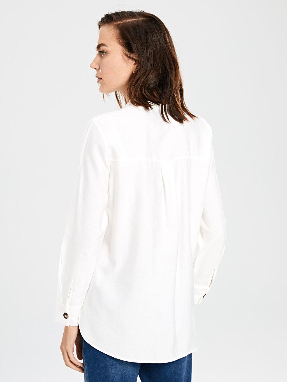 %13 Polyester %87 Viskoz Dokulu Viskon Kumaştan Gömlek