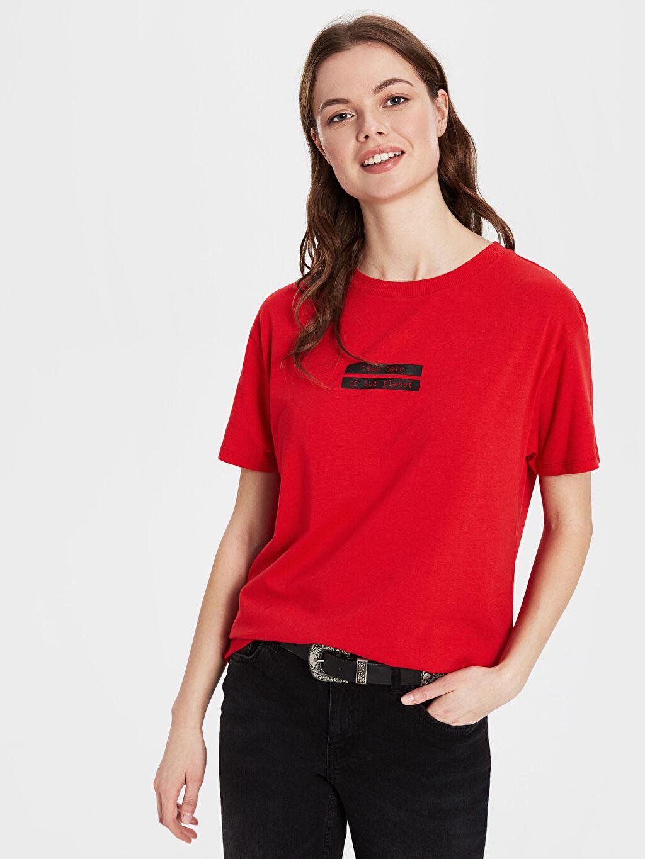 Kırmızı Yazı Baskılı Tişört 9WU927Z8 LC Waikiki