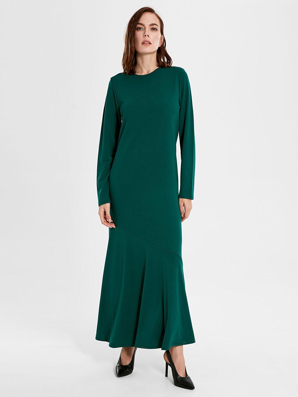 %26 Polyester %72 Viskoz %2 Elastan Uzun Düz Uzun Kol Ofis/Klasik Fır fır Detaylı Uzun Elbise