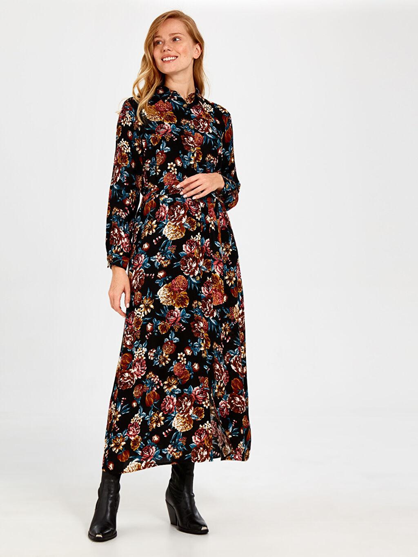 %100 Viskoz Elbise Uzun Kol Gabardin Gömlek Elbise Ofis/Klasik Standart Astarsız Uzun Çiçekli Çiçek Desenli Kuşaklı Viskon Elbise