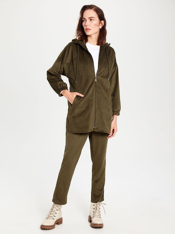 %100 Polyester Orta Kalınlık Oversize Ceket Mini Kapüşonlu Fermuarlı Kadife Ceket