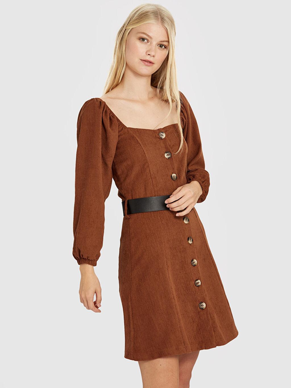 Uzun Kol Düz Elbise Quzu Balon Kol Kemerli Kadife Elbise