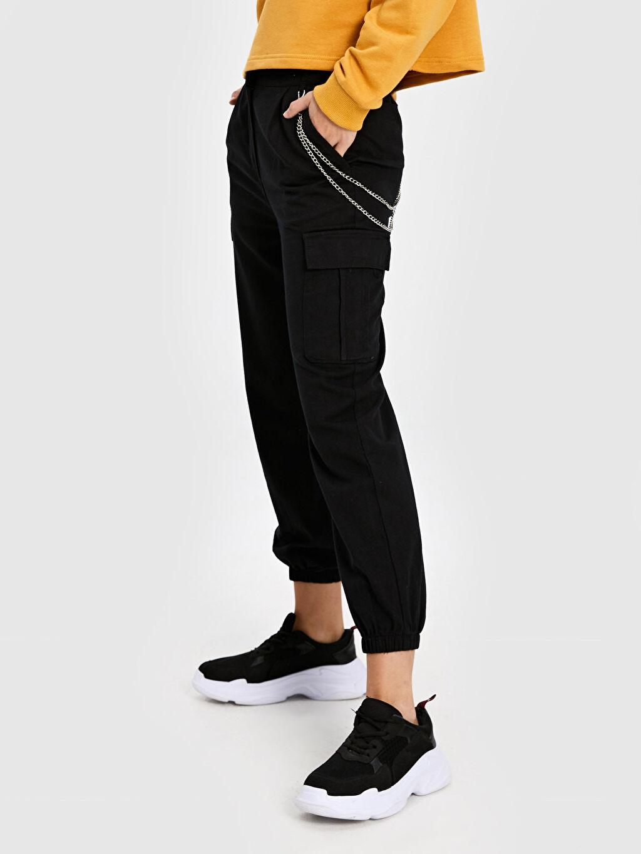 Pantolon Yüksek Bel Kargo Quzu Zincir Detaylı Kargo Pantolon
