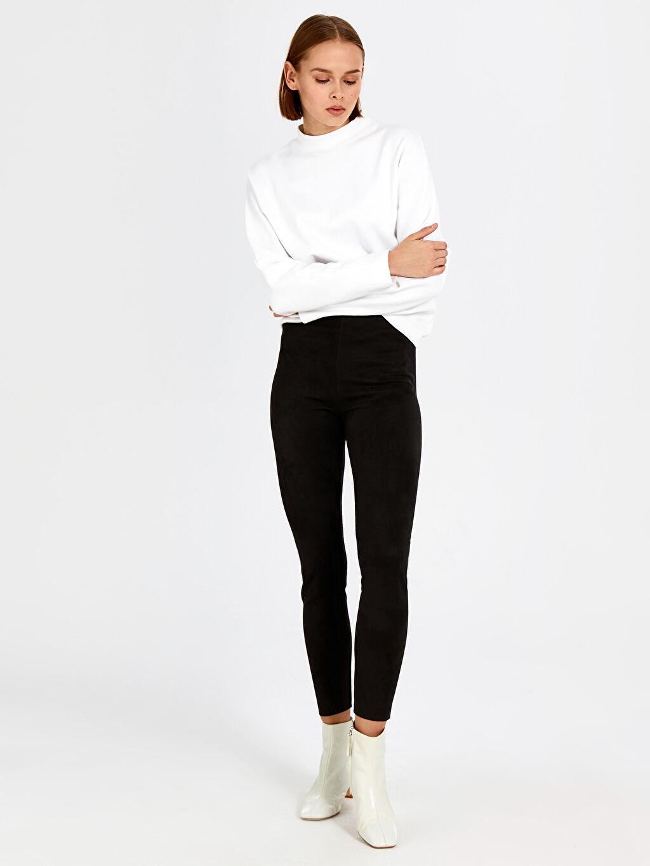 %87 Polyester %13 Elastan Pantolon Bilek Boy Süet Baskılı Skinny Yüksek Bel Bilek Boy Süet Pantolon
