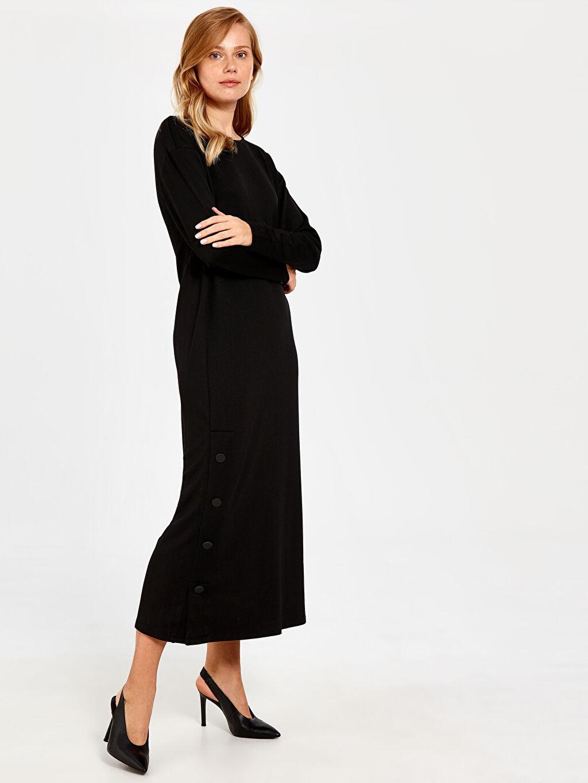 Siyah Düğme Detaylı Düz Elbise 9WY457Z8 LC Waikiki