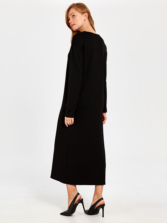 Kadın Düğme Detaylı Düz Elbise