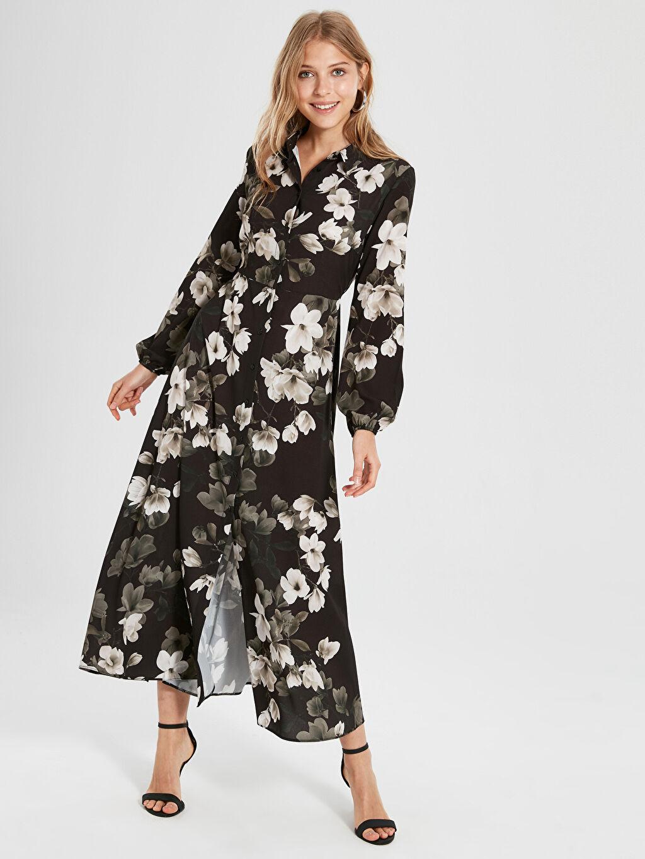Uzun Baskılı Uzun Kol Sateen Çiçek Desenli Uzun Elbise