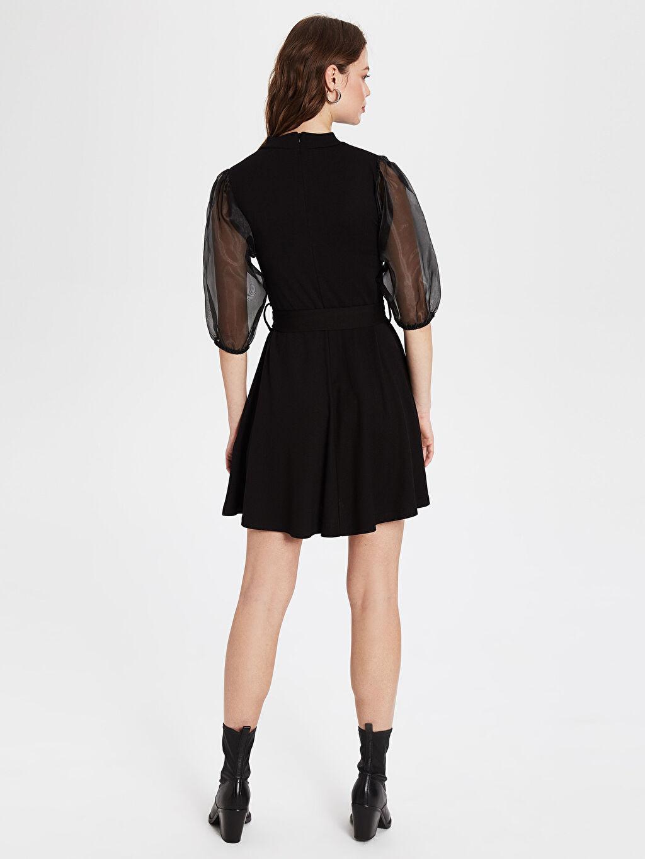 Kadın Kolları Tül Detaylı Mini Kloş Elbise
