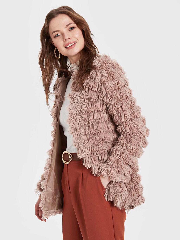 Kadın Sateen Saçaklı Yakasız Ceket
