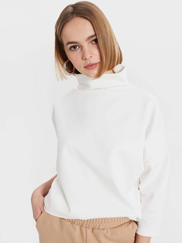 %94 Polyester %6 Elastan Dalgıç Kumaşı Günlük Standart Sweatshirt Balıkçı Yaka Bol Balıkçı Yaka Skuba Kumaştan Sweatshirt