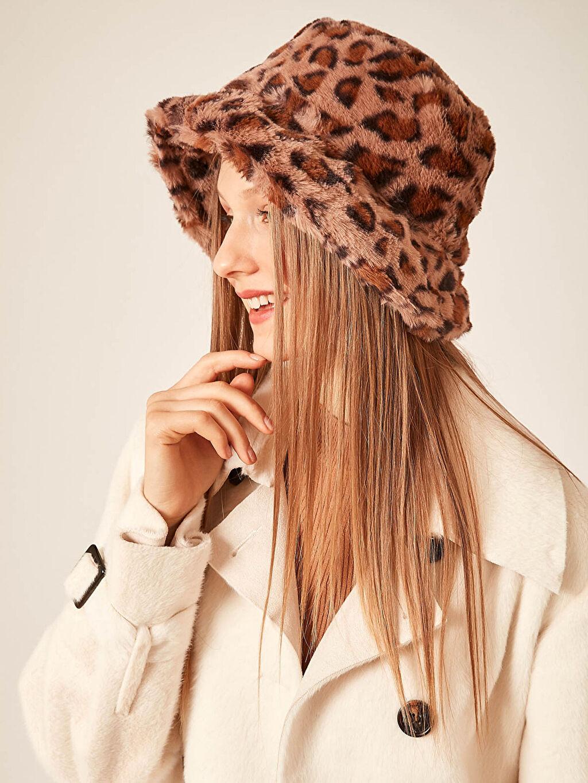 Axesoire Leopar Peluş Bucket Şapka