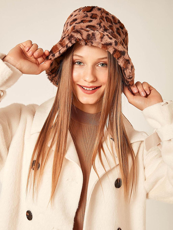 Kadın Axesoire Leopar Peluş Bucket Şapka