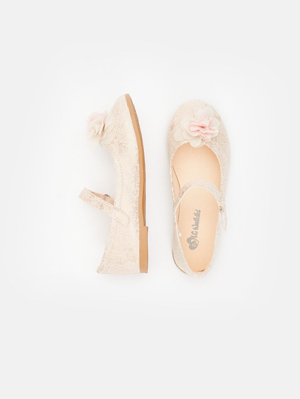 %0 Tekstil malzemeleri (%100 poliester)  Kız Çocuk Çiçekli Babet Ayakkabı