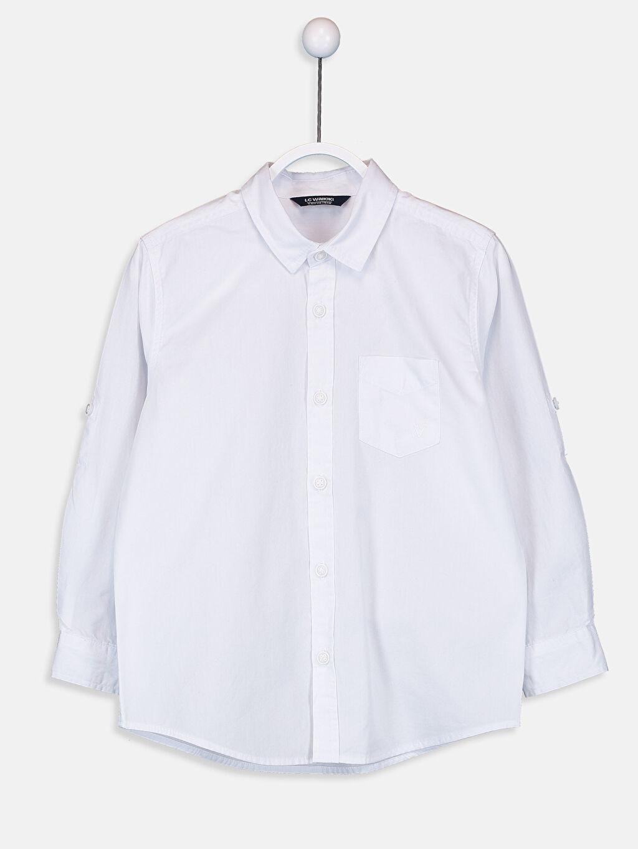 %100 Pamuk Uzun Kol Poplin Aksesuarsız Gömlek Standart Gömlek Yaka Erkek Çocuk Poplin Gömlek