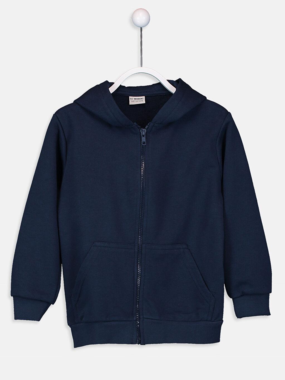 Lacivert Erkek Çocuk Fermuarlı Kapüşonlu Sweatshirt 9W0927Z4 LC Waikiki