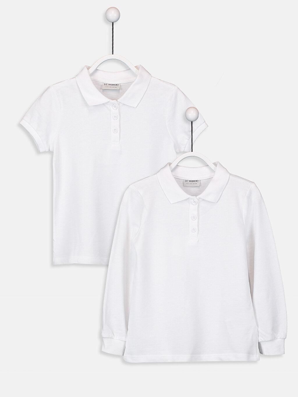Beyaz Kız Çocuk Polo Yaka Basic Tişört 2'li 9W1444Z4 LC Waikiki