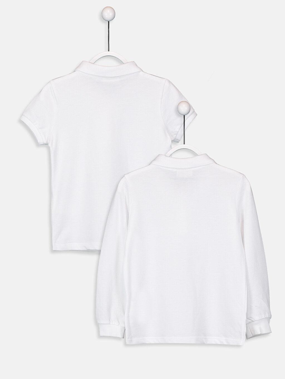 %100 Pamuk Standart Tişört Pike Polo Yaka Uzun Kol Düz Kız Çocuk Polo Yaka Basic Tişört 2'li