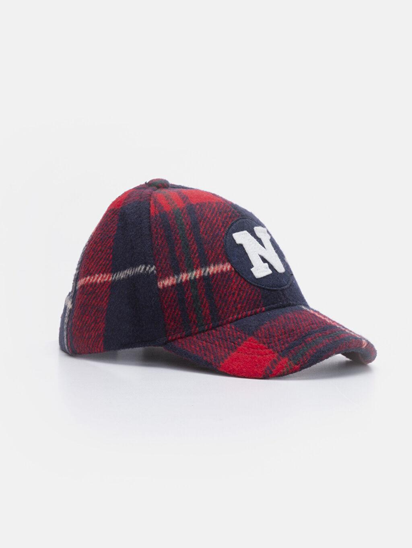 Kırmızı Erkek Çocuk Nakışlı Ekose Şapka 9W1626Z4 LC Waikiki