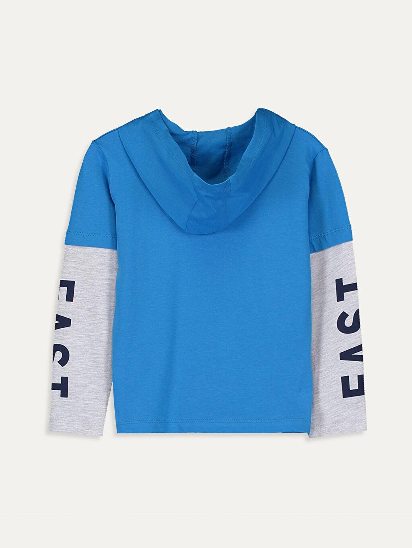 %100 Pamuk Uzun Kol Süprem Kapüşon Yaka Standart Baskılı Tişört Erkek Çocuk Yazı Baskılı Kapüşonlu Tişört