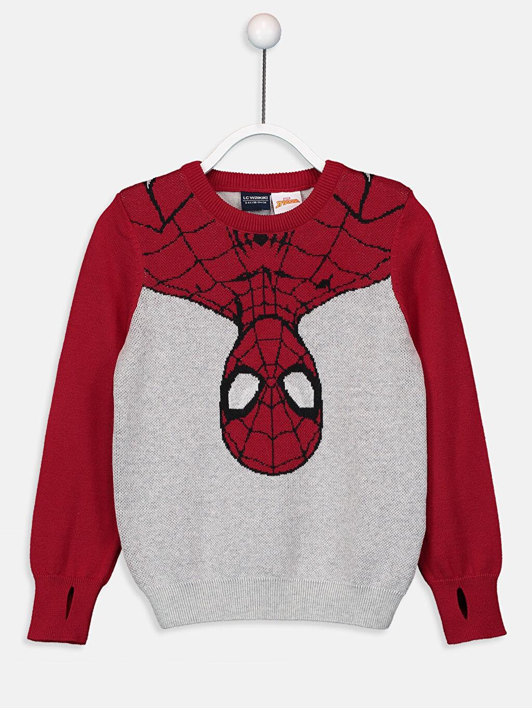 Gri Erkek Çocuk Spiderman İnce Triko Kazak 9W2590Z4 LC Waikiki