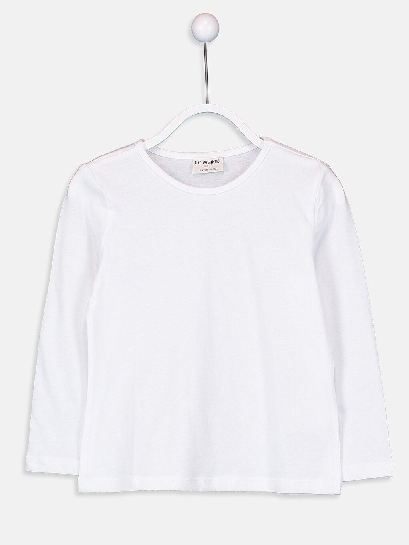 Beyaz Kız Çocuk Pamuklu Basic Tişört 9W2619Z4 LC Waikiki