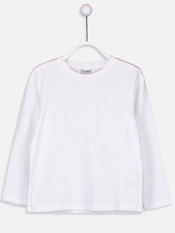 Beyaz Erkek Çocuk Pamuklu Basic Tişört 9W2688Z4 LC Waikiki