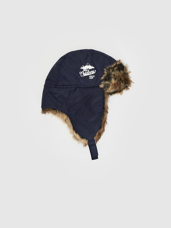 Lacivert Erkek Çocuk Pelüş Astarlı Şapka 9W3502Z4 LC Waikiki